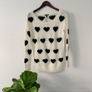 Express NWOT black and cream polka dot sweater XS